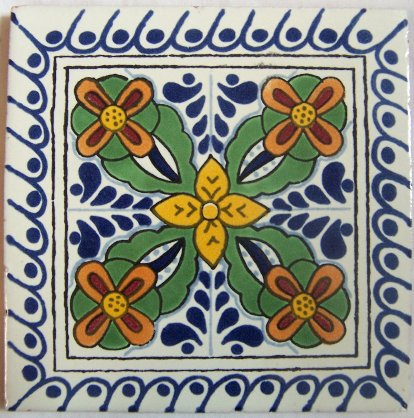 C292- Mexican Handmade Talavera Clay Tile Folk Art 4x4