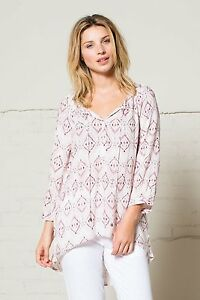 Blouse Nomads Pretty 4 Shirt Ikat Fit Boho Fairtrade Pale Sleeve 3 Pink Loose PPZrdqw