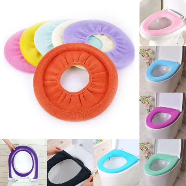 Washable O Shaped Toilet Seat Cover Thicken Polyester Warmer Overcoat Case ~