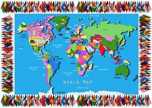 World Map - A4 laminated poster- Geography- Class -Childminder