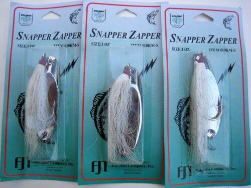 CHROME Saltwater Lure Kastmaster-style Snapper Zapper w// Bucktail 3 pk 1 oz