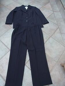Damen-Anzug-Hosenanzug-Anzug-Kombination-Hose-Sakko-Blazer-blau-Gr-44