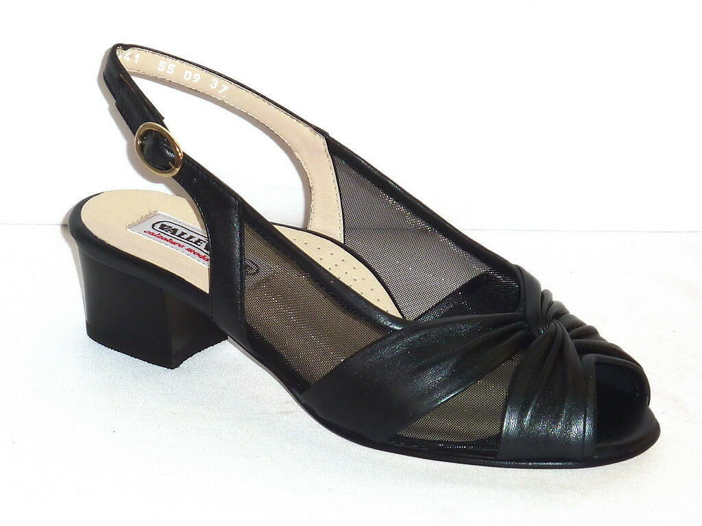 1441 VALLEverde zapatos mujer SANDALI TACCO TACCO TACCO BASSO COMODE PELLE negro n. 37 bba12c