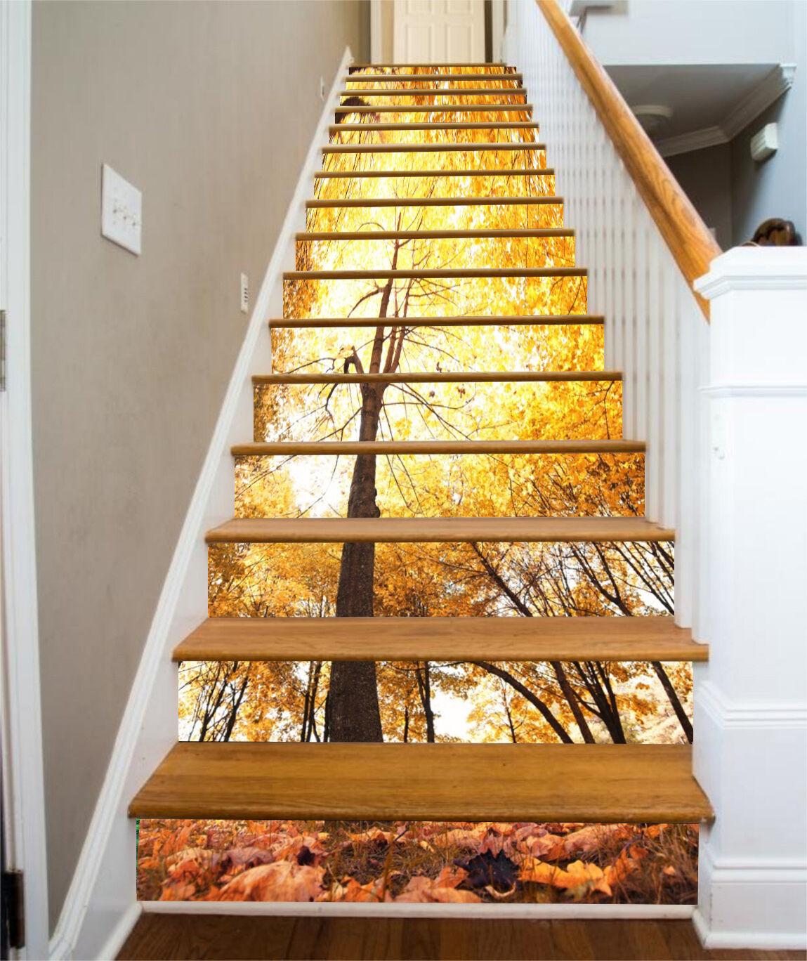 3D Gelb tree 36 Stair Risers Decoration Photo Mural Vinyl Decal Wallpaper US