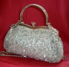 Bling Silver Sequin Evening Handbag Beads Clutch Purse Party Wedding Prom Eid
