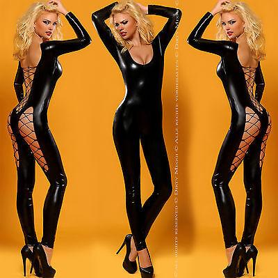 Catsuit Wetlook Overall Anzug Dessous Body Clubwear Party Gr. S/ M 36/38 schwarz