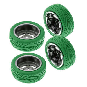 4pc-HSP-RGT-RC-1-10-ROCK-CRAWLER-Pre-Mounted-Wheels-amp-Tires-12mm-Hex-Green