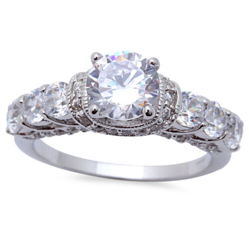 2CT Round Cubic Zirconia Engagement  .925 SOLID Sterling Silver Ring Sizes 6-9