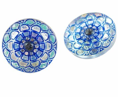 1pc Crystal Flower Hills Round Handmade Czech Glass Button Size 8 18mm