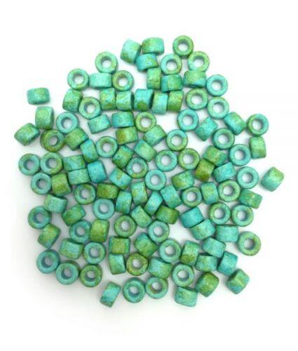 Keramik Zylinder 6mm Keramikperlen 100 Stück hellblau gesprenkelt