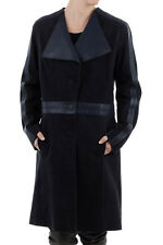 DROME New Woman Dark Blue LEATHER Single Breasted Three Button Jacket Coat Sz S