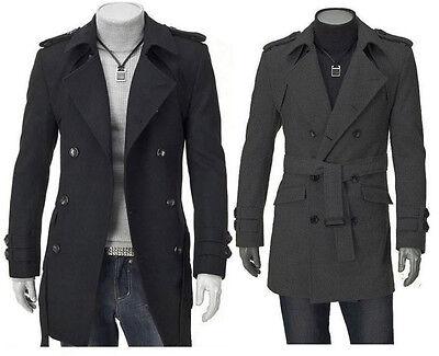 Men/'s elegante lunga Doppio Petto Trench Cappotto PEA COAT-Nuova con etichetta