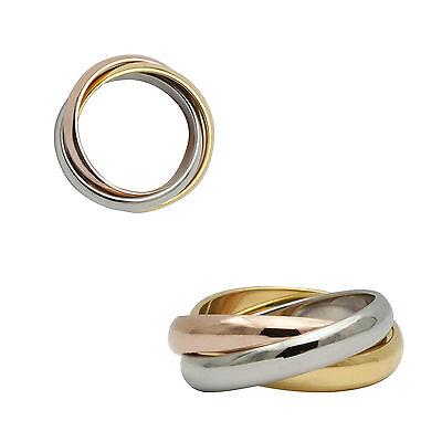 Tricolor Dreierring Edelstahl Ring Bandring Fabe Gold Rosegold 24 Ringgrößen