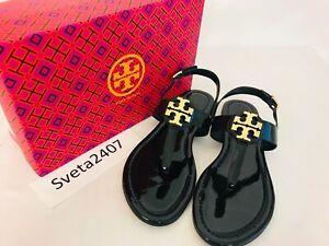 2acfc80a91e Tory Burch NIB Bryce Flat Thong Sandal Patent Leather 55125 Logo ...