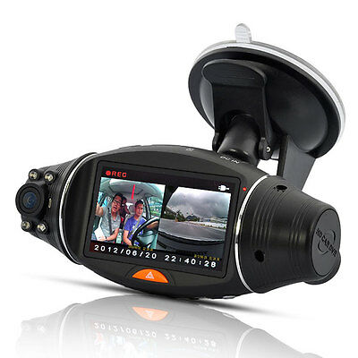 R310 Dual Lens Dash 270° Rotate Dash Cam Camera Video DVR G-sensor w/GPS Logger