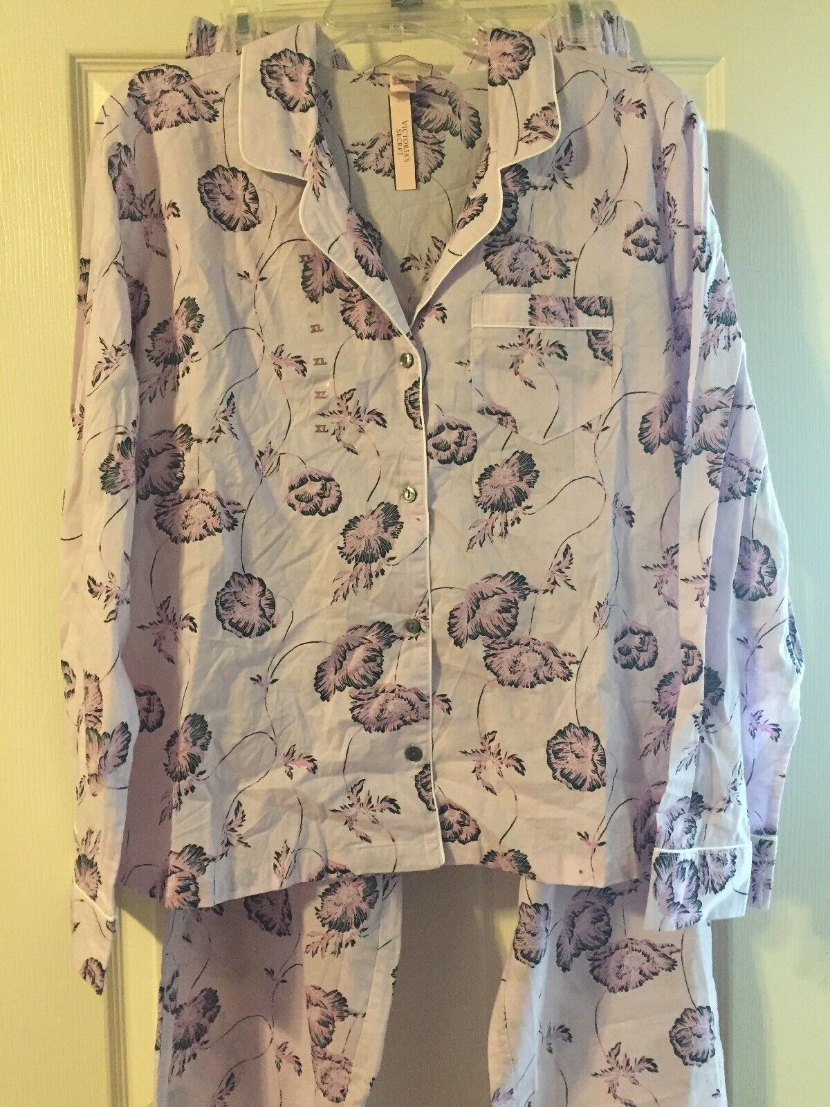 Victoria Secret Lavender 2pc Floral Pajama Set Cotton Size XL NWT