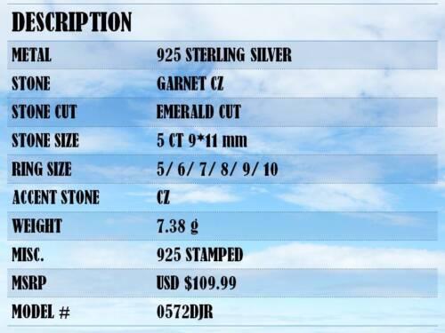 Énorme 5 ct Grenat Argent Sterling 925 Bague Taille 5-10
