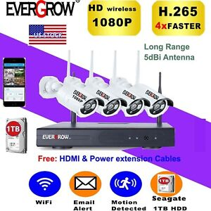 Details about H265+ 1080P HD Wireless Security Camera System 1TB HDD, 4-2 0  MP IP Camera NVR