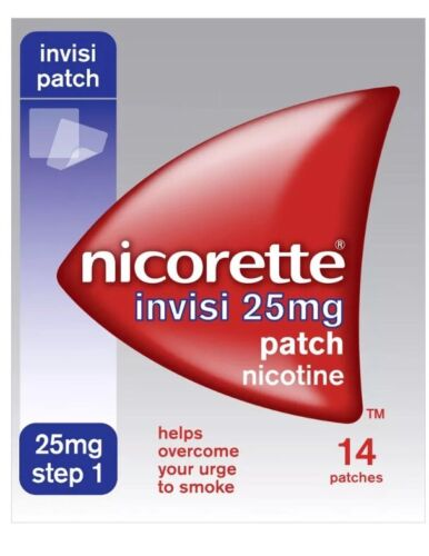 6 Packs of Nicorette Step 1 Invisi 25mg Patch Nicotine 14 Patches