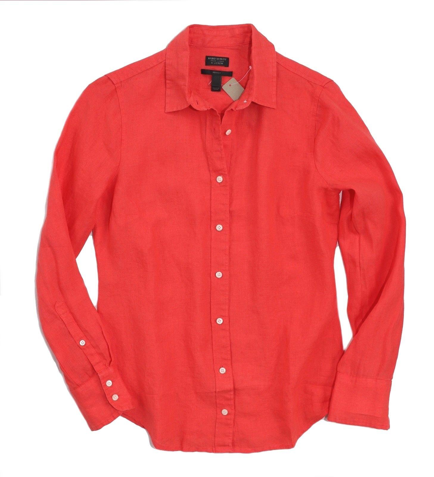 Baird Mcnutt für J.Crew Damen 2 - Nwt Coral Rosa Langärmlig Irisch Leinen Hemd