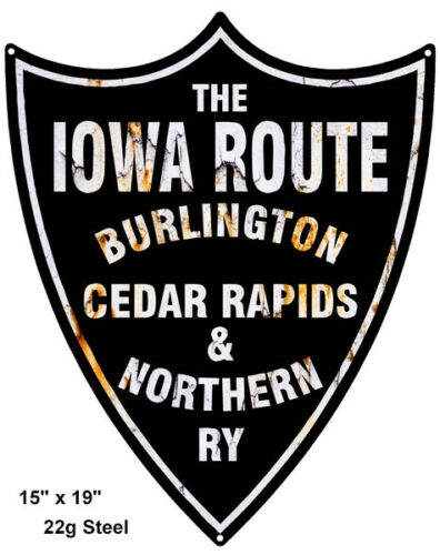 """Iowa Route Reproduction Laser Cut Out Railroad Sign 15/""""x19/"""""""