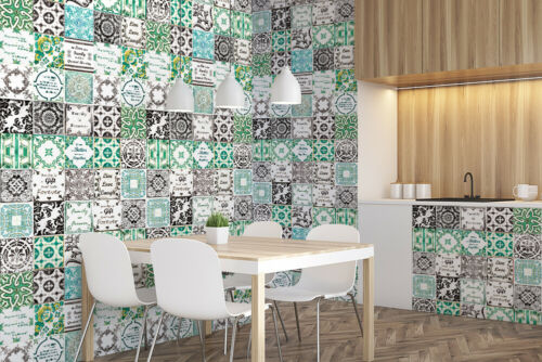 Retro Brown /& Green Mix English Quote Mosaic Tile Wall Stickers Retro Size:15cm