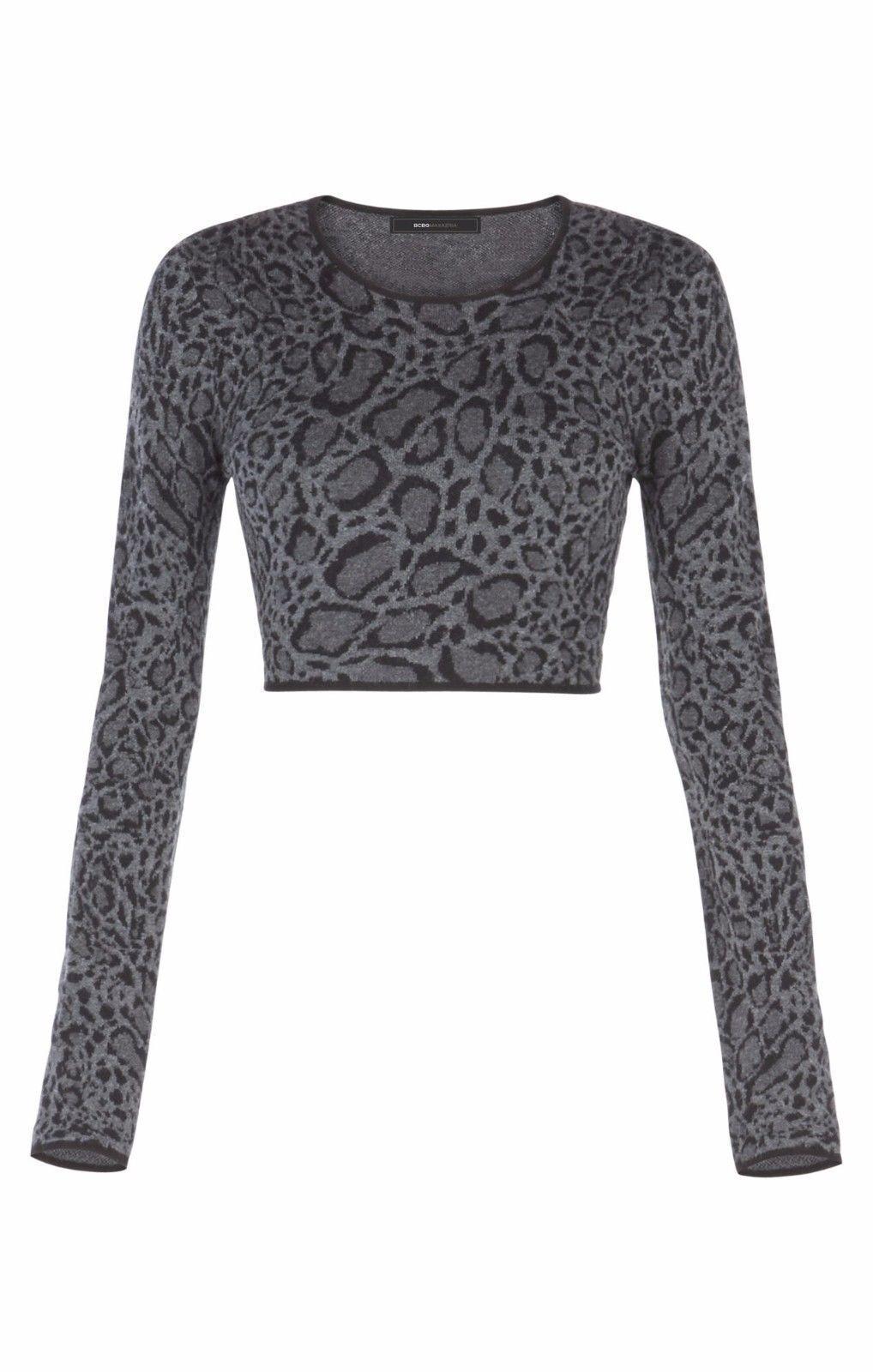 BCBG Max Azria HAYDEE Crop Top Leopard Ocelot Jacquard Cropped Sweater Größe M
