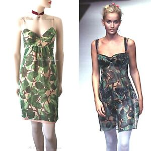 c9ae6b76 DOLCE & GABBANA vintage 1997 green leaf floral print DRESS size UK 6 ...