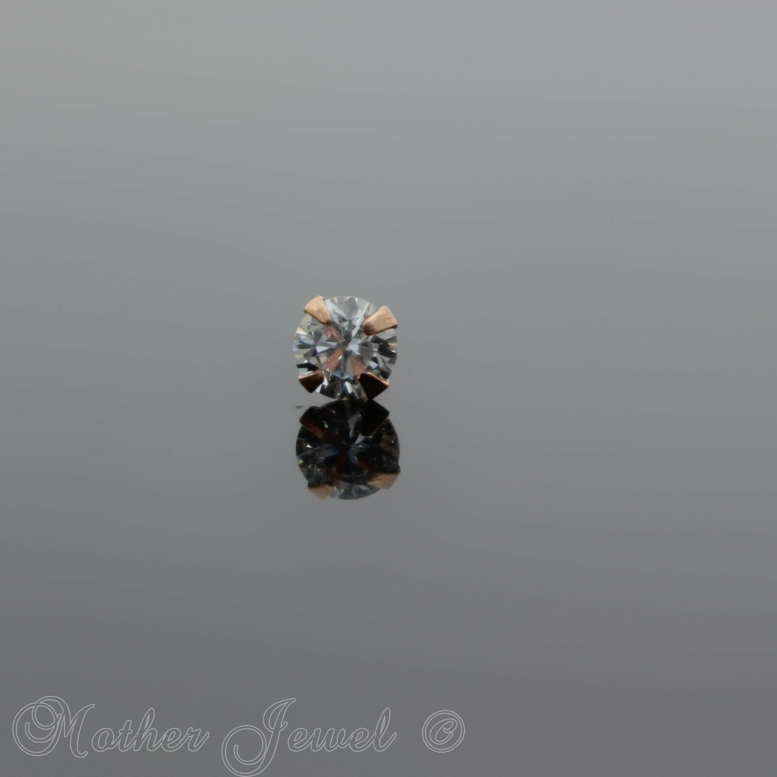 GENUINE 22G REAL 9K SOLID ROSE GOLD 1.5mm SIMULATED DIAMOND NOSE STUD PIN RING