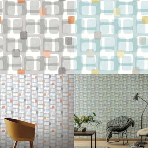 Teal Grey Yellow Orange Retro Block Pattern Wallpaper Arthouse Vintage Geometric