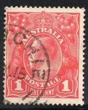 """AUSTRALIA 1914 1d RED THIN """"G"""" IN POSTAGE USED"""