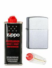 Lanzbulldog Feuerzeug chrome brushed + 1 x Zippo Benzin + Zippo Flint NEU