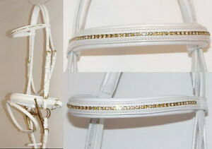 FSS Freisian Keuring Bridle Cream Comfort WHITE Padded Slimline Headpiece CRANK