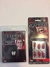 Vampire Teeth Dent Liquid Blood Capsules Lot Costume Horror Theater Stage Makeup