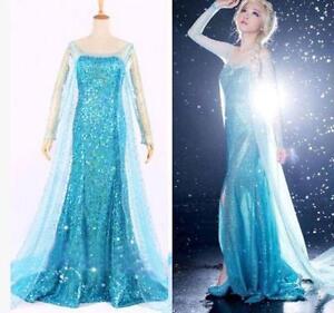 Reine-Des-Neiges-Elsa-Costume-Deguisement-Robe-Adulte-toutes-les-tailles-Bleu