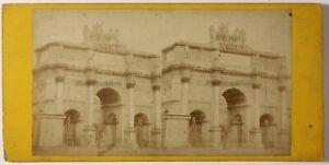Parigi Arco Di Triomphe Del Carosello Foto Stereo PL46L3n Vintage Albumina c1868