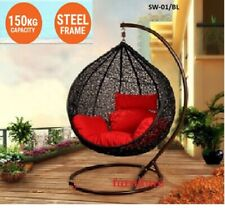 NEW HANGING SWING EGG CHAIR Rattan OUTDOOR BLACK BASKET & red CUSHION