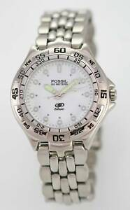 Fossil-Blue-Watch-Mens-Stainless-Steel-Silver-50m-Water-Resistant-White-Quartz