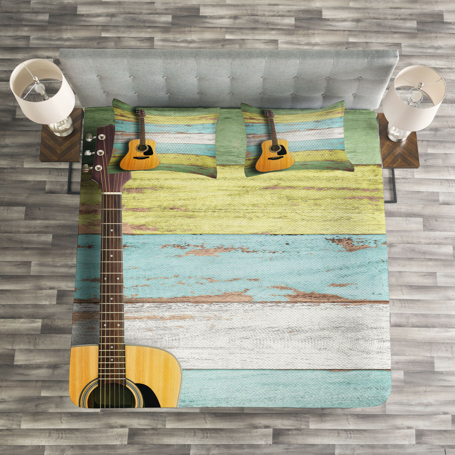 Music Quilted Bedspread & Pillow Shams Set, Aged Wooden Planks Rustic Print