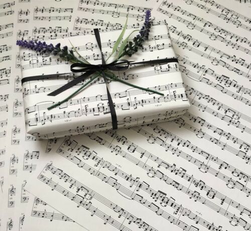 6 x SHEETS OF MUSIC PAPER IN CREAM A3 SIZE CRAFT OR WRAPPING PAPER
