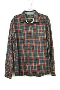 Eddie-Bauer-Mens-Button-Down-Long-Sleeve-Red-Plaid-Cotton-Flannel-Shirt-2XL