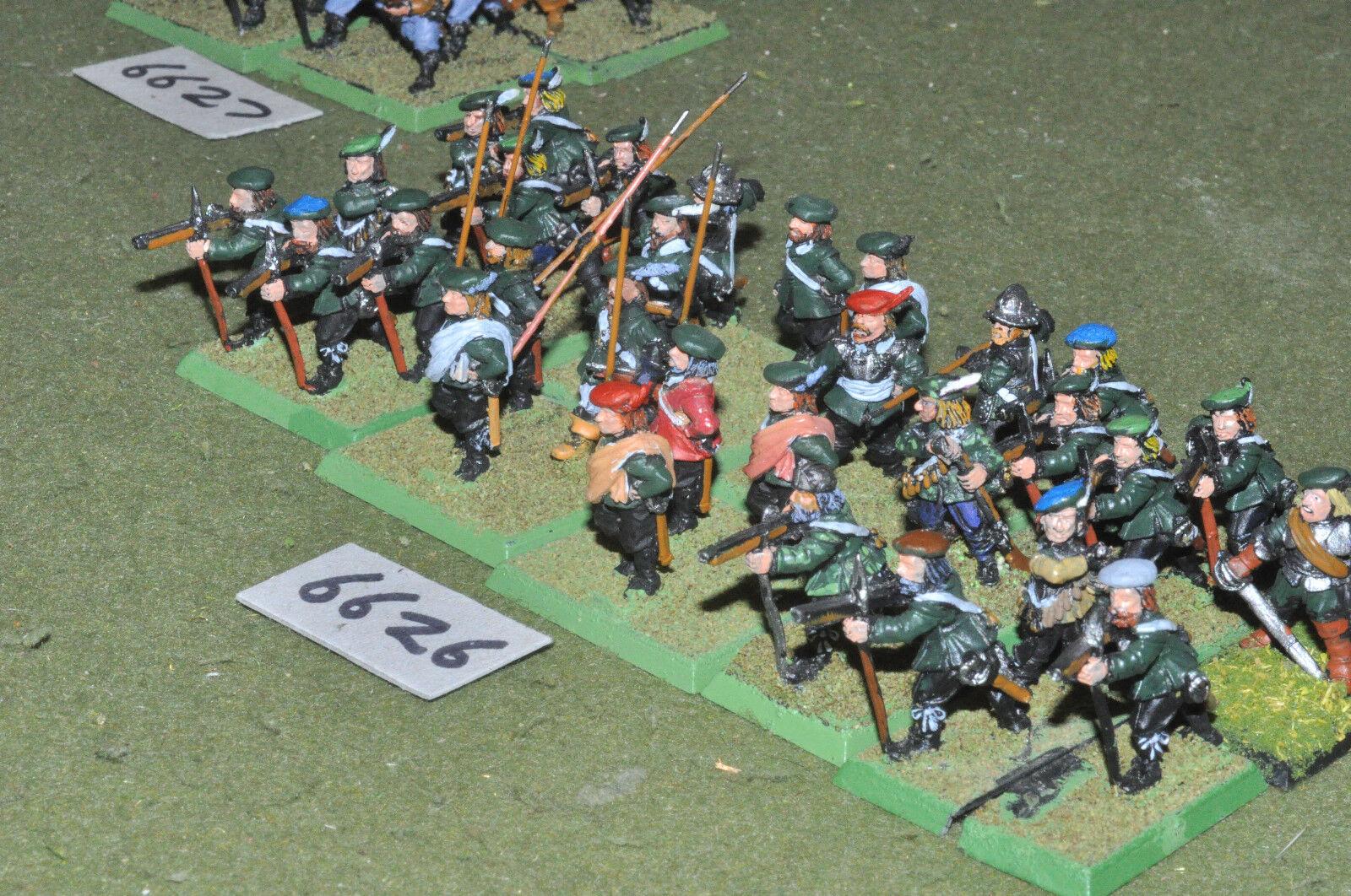 25mm Ecw inglés-Guerra Civil Infantería 30 Figuras De Metal-INF (6626)