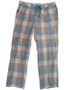 a8486663c22f Womens Baby Blue Gray Silver Plaid Tartan Sleep Pant Pocketed Pajama ...
