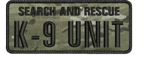 Search and Rescue K9 UNIT embroidery patches 2x5  hook multicam