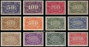 EBS-Germany-1922-1923-Numeral-in-Oval-Definitives-II-Michel-246-257-MNH