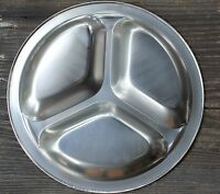 Small Divided Plate Onyx 18/8 Stainless Steel Tray Metal Retro Vintage Style