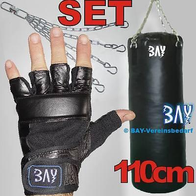 BAY® Profi 120 cm Leder Box-Set Boxsack Boxset Boxhandschuhe Sandsack Handschuhe