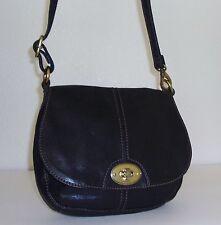 Fossil Small Black Leather Turn Lock Flap Crossbody Shoulder Bag Purse Handbag