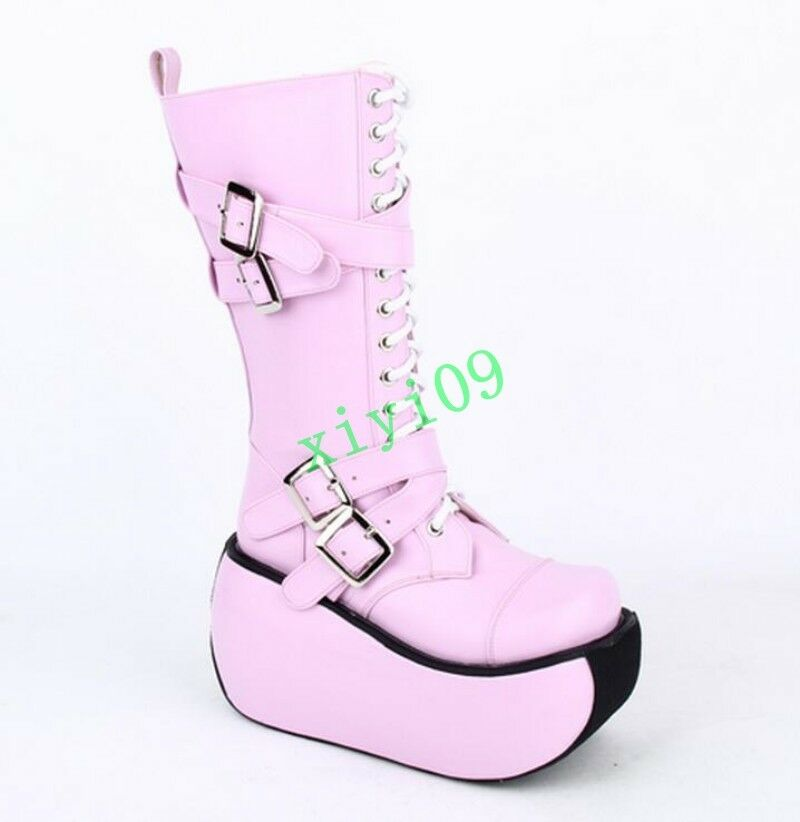 Gothic Womens Womens Womens Punk Chunky Wedge Platform Cross Strap Belt Buckle Zip Side Boots 85c0f1