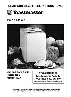 Toastmaster Bread Maker Machine 1172X Operator Instruction ...